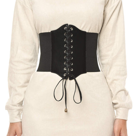 Black Lace Up Corset Belt