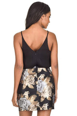 Black 2 in1 Floral Metallic Mini Dress