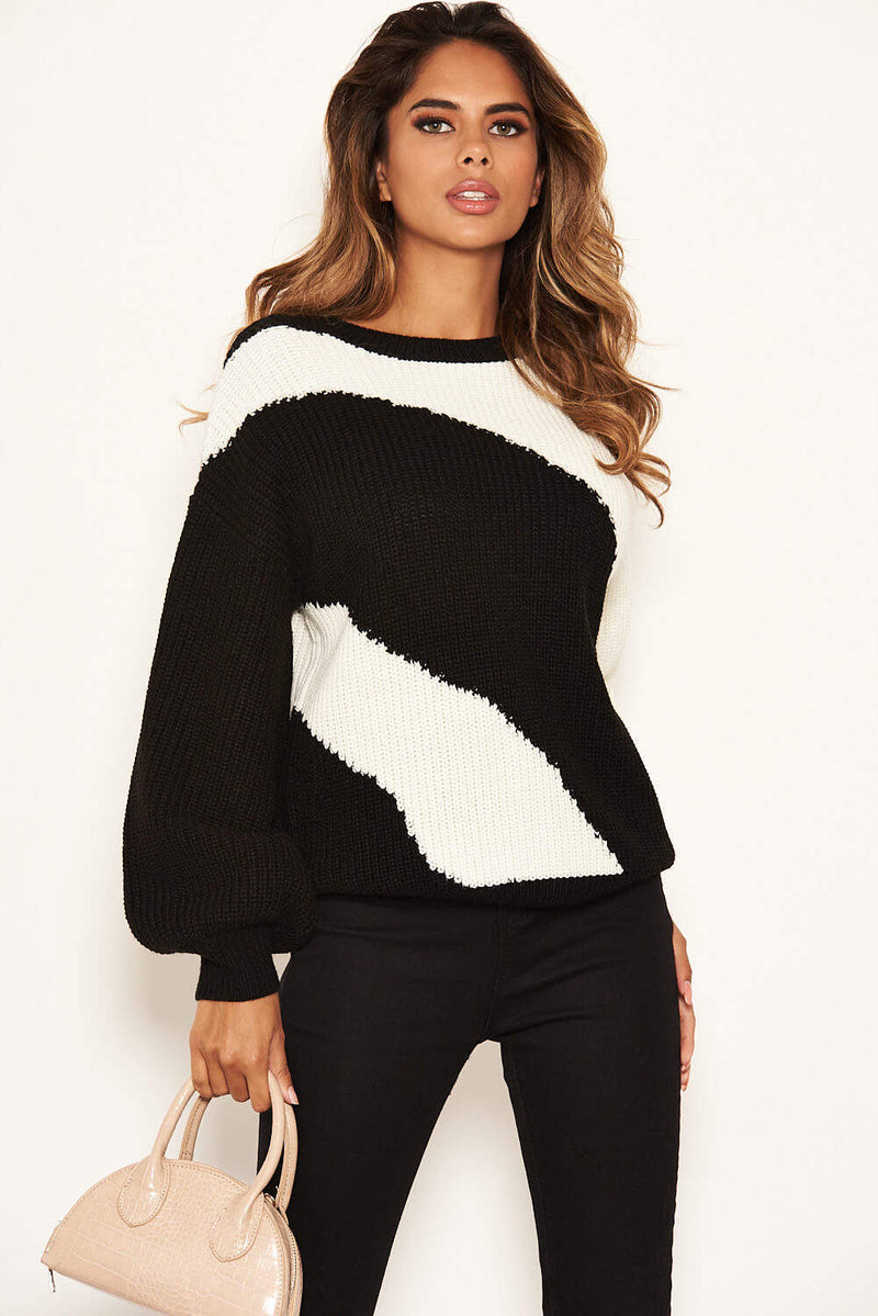 Black And Cream Striped Knit Jumper