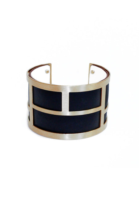 Black And Gold Thin Cuff Bangle