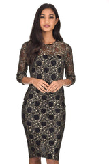 Black And Gold Lace Bodycon Dress