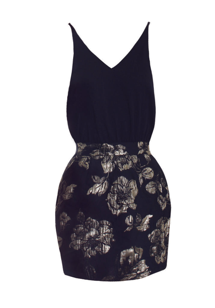 Black And Gold Embroidery Dress