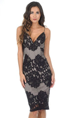 Black And Nude Lace Midi Dress