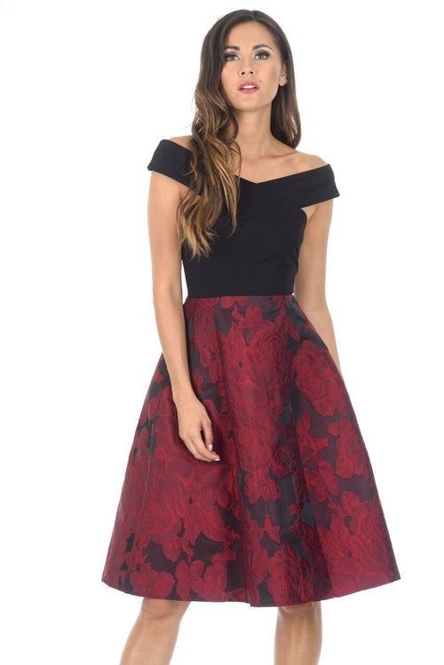 Black And Red Contrast 2 In 1 Floral Dress