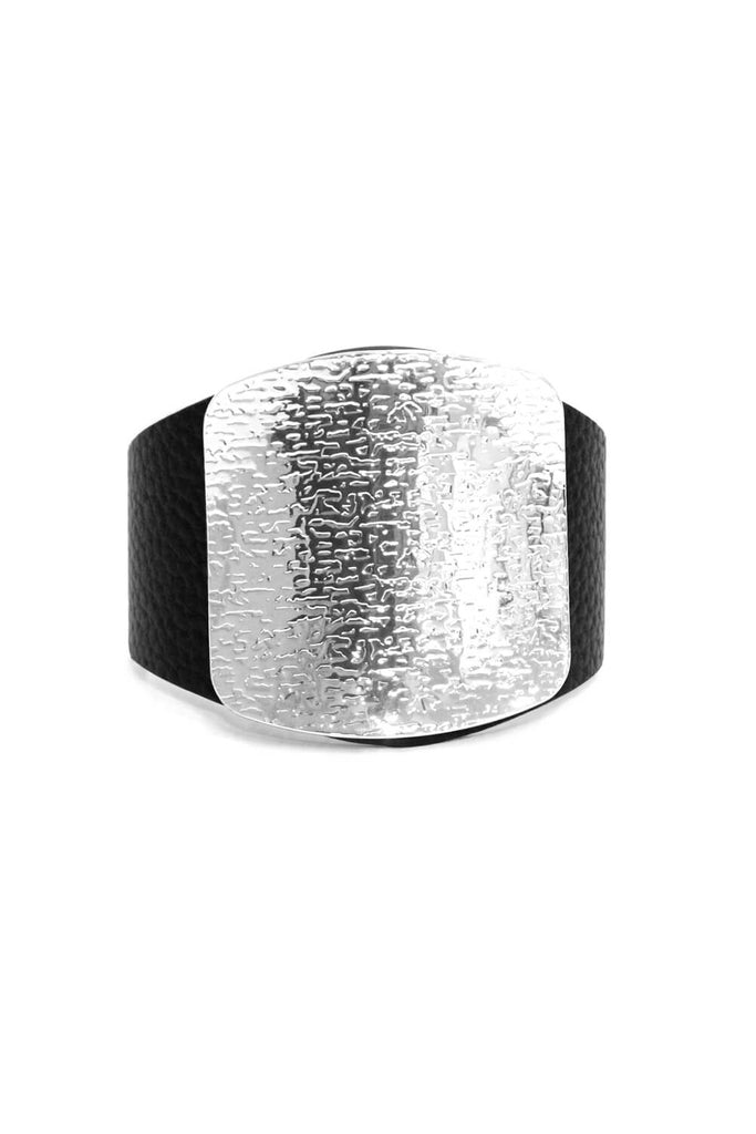 Black And Silver Thick Western Style Bangle