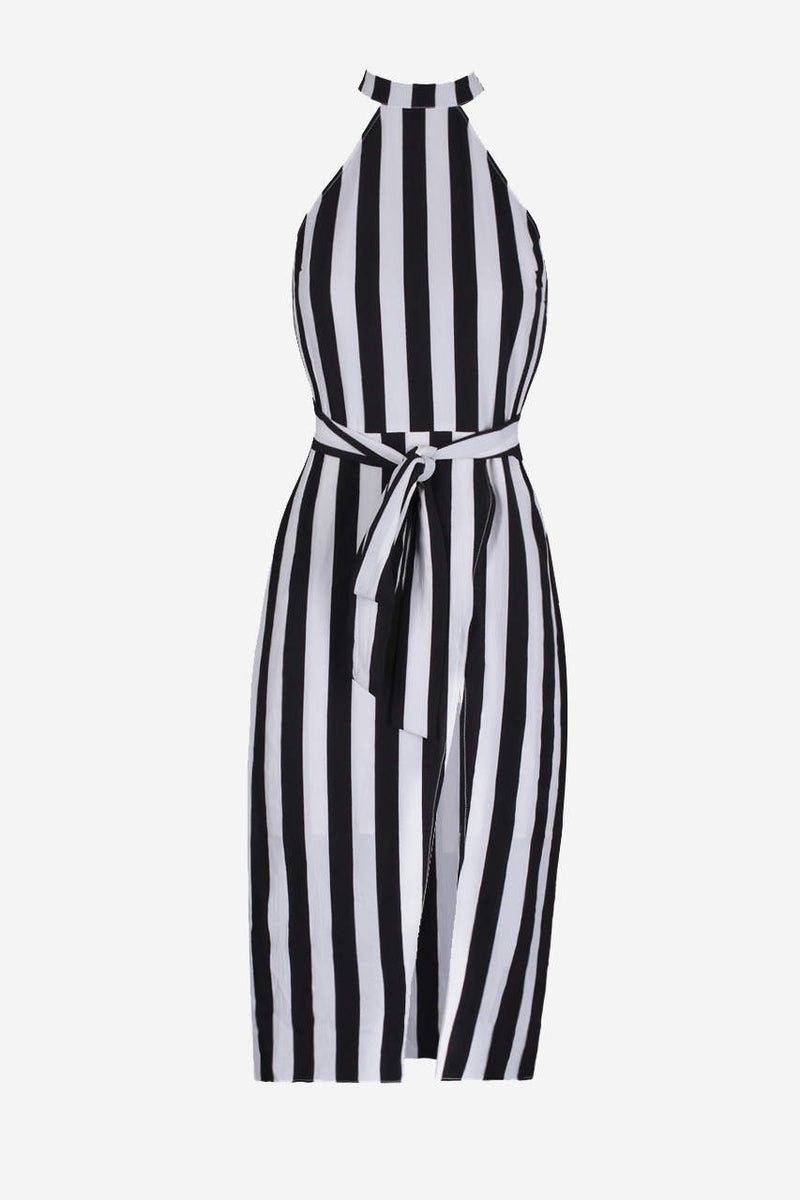 Black And White High Neck Striped Dress