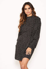 Black Polka Dot High Neck Dress