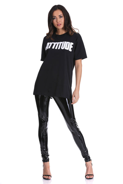 Black Attitude Slogan T-Shirt