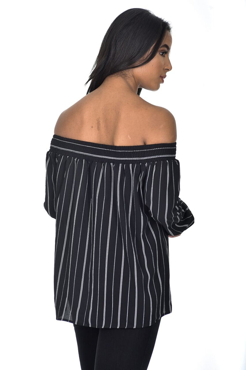 Black Bardot Stripey Top