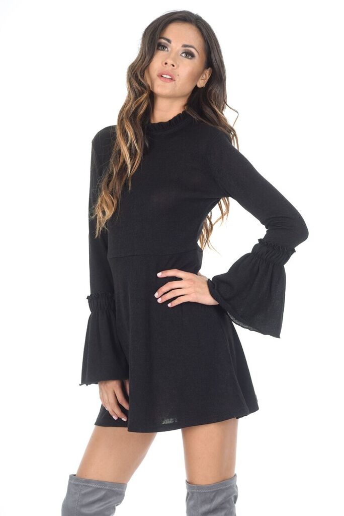 Black Bell Sleeve Frill Dress