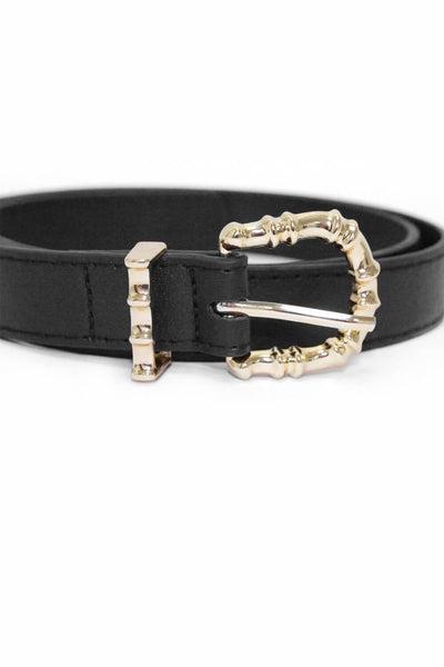 Black Belt With Gold Hammered Buckle