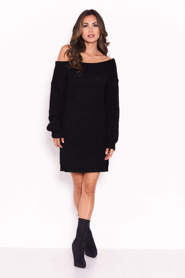 Black Boatneck Longline Jumper
