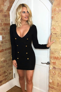Black Bodycon Button Front Dress