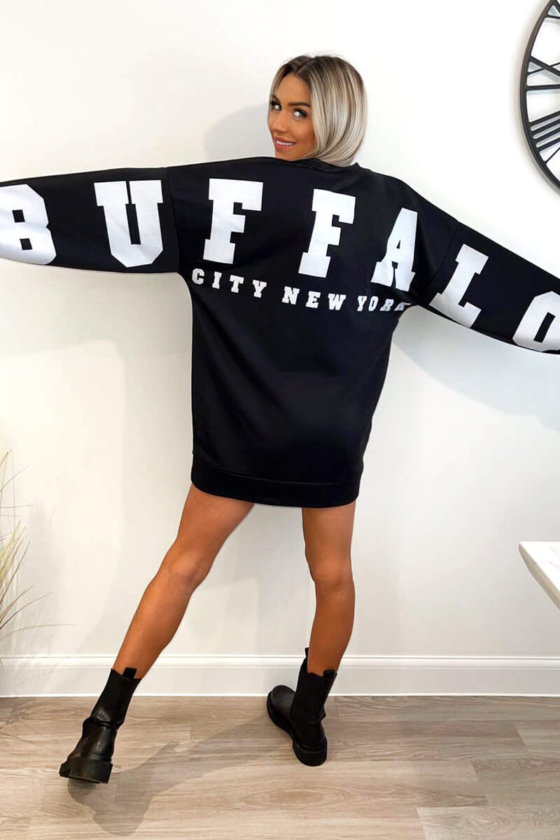 Black Buffalo Slogan Oversized Sweatshirt