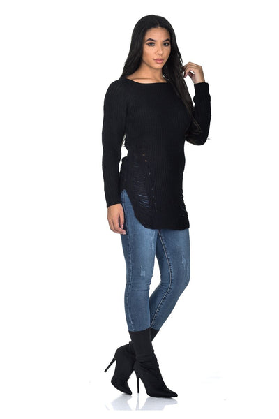 Black Cable Knit Laddered Jumper