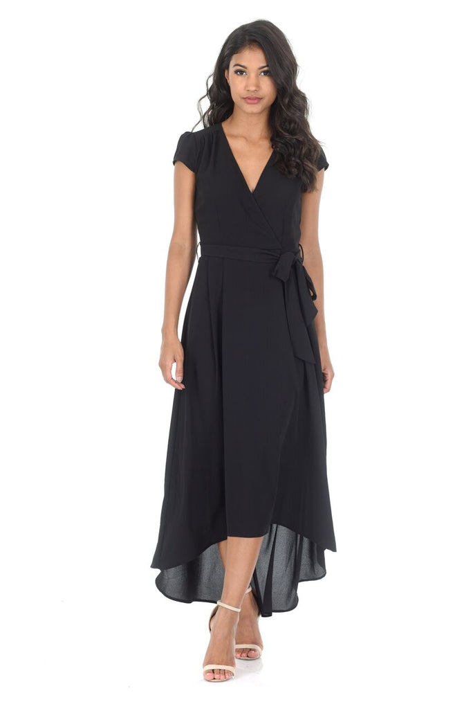 Black Capped Sleeve Waterfall Dress