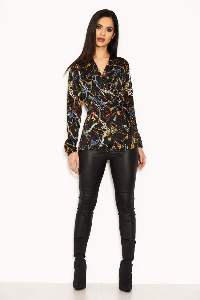 Black Chain Print Top