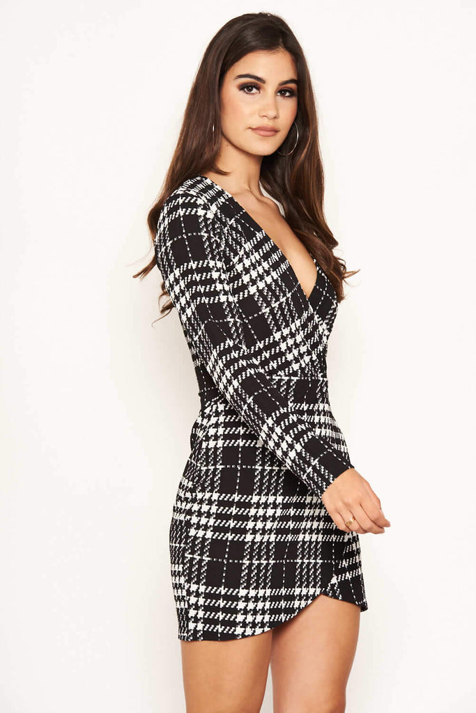 Black Check Wrap Bodycon Dress