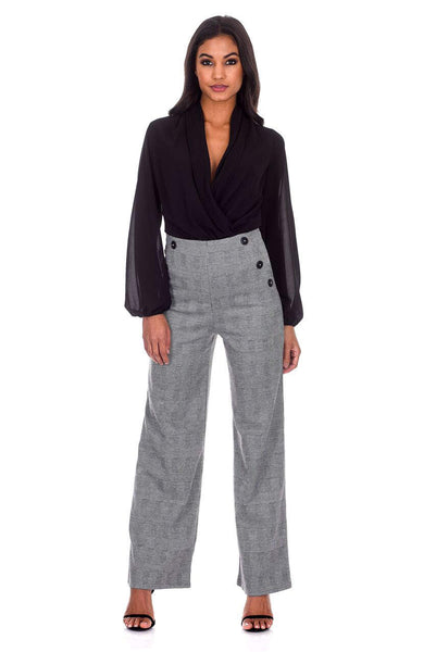 Black Checked Flared Trousers