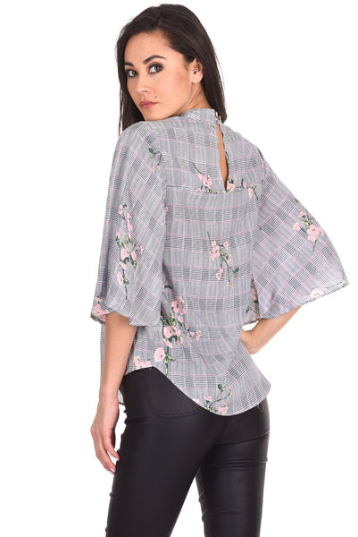 Black Checked Floral Print Top