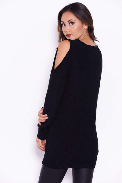 Black Chenille Jumper With Cold Shoulder