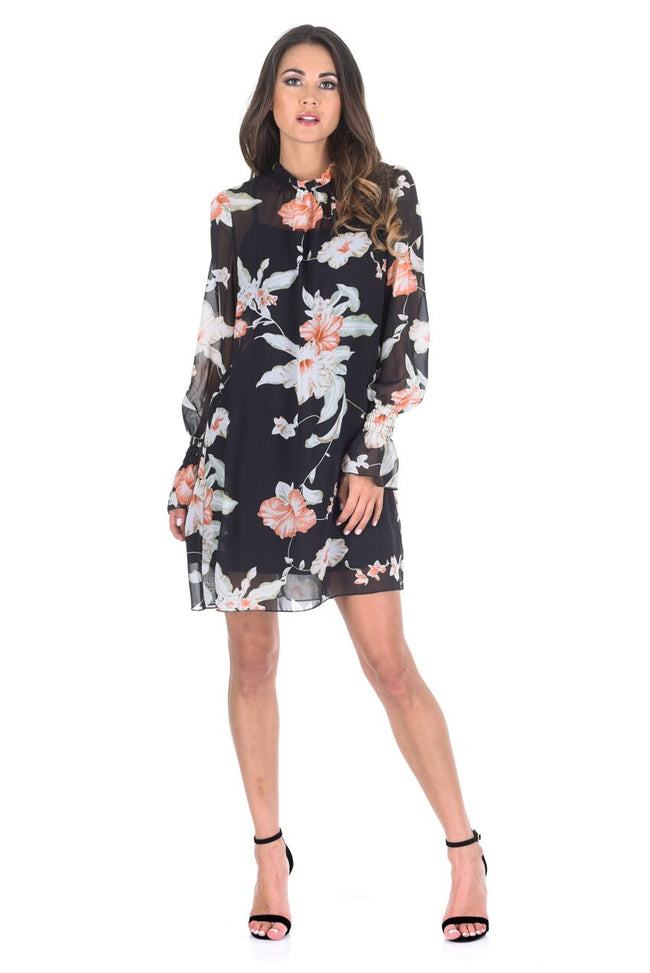 Black Chiffon Printed Dress With Elasticated Bell Sleeves