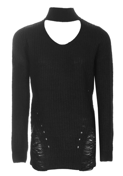 Black Choker Ladder Cable Knit Jumper