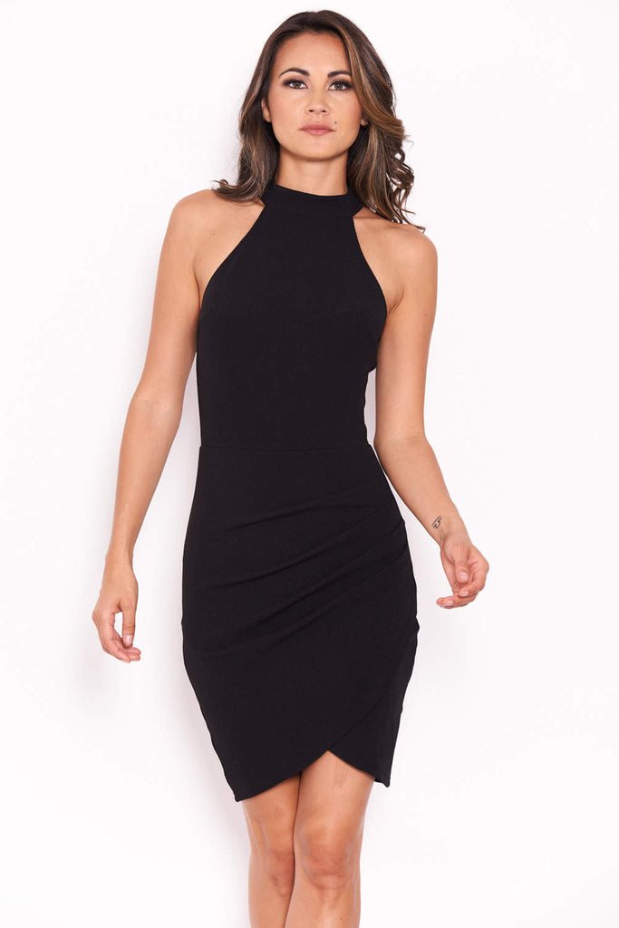 Black Choker Neck Ruched Detail Bodycon Dress