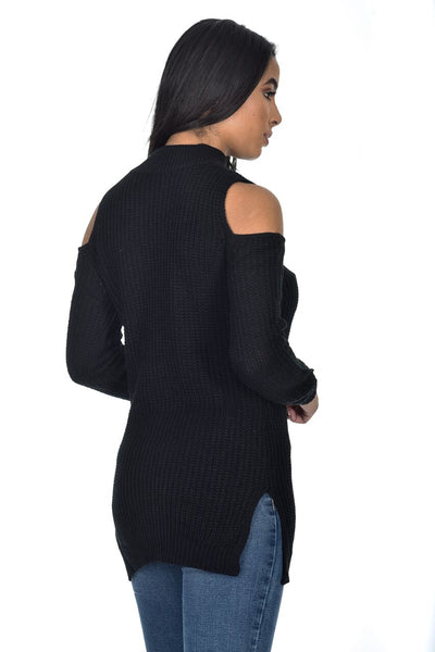 Black Cold Shoulder Choker Jumper