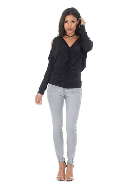 Black Cold Shoulder Top With Split Sleeve