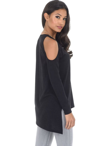 Black Cold Shoulder asymmetric Jumper