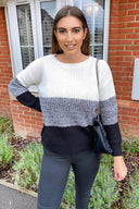 Black Colour Block Knitted Jumper