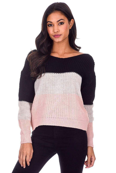Black Colour Block Reversible Jumper