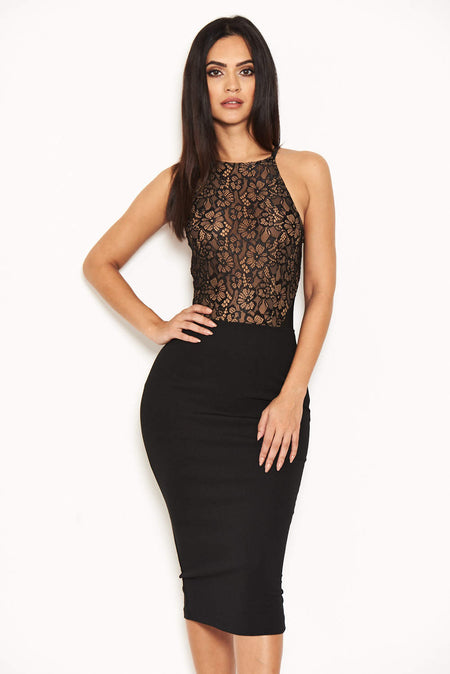 Black Fishtail Hem Lace Midi Dress