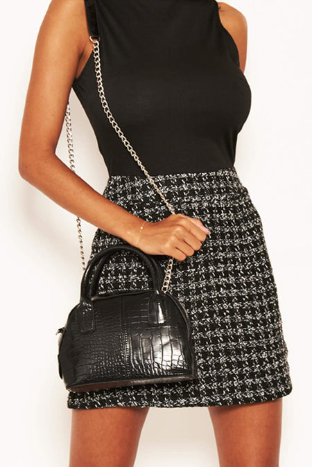 Black Mini Textured Chain Strap Bag