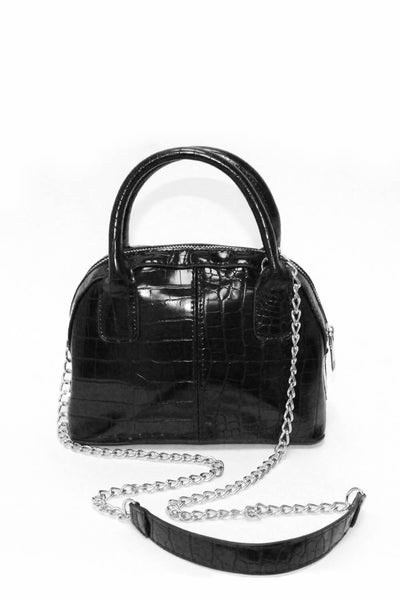 Black Croc Mini Bag With Silver Chain Strap