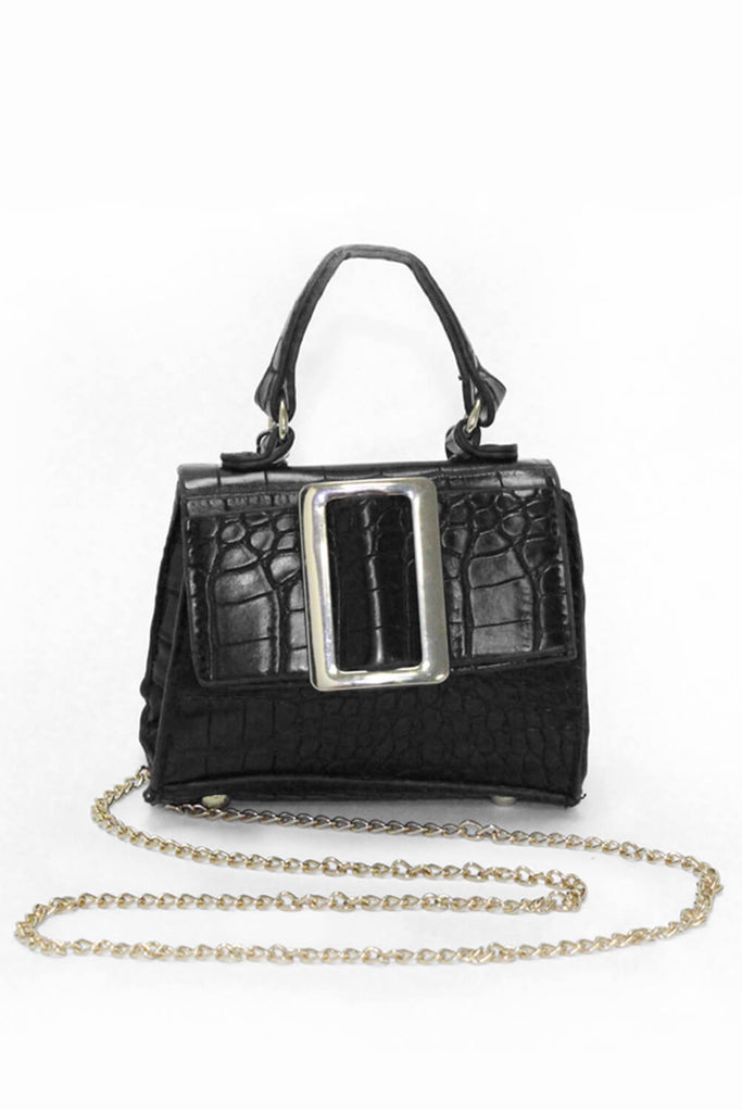 Black Croc Mini Handbag With Gold Buckle
