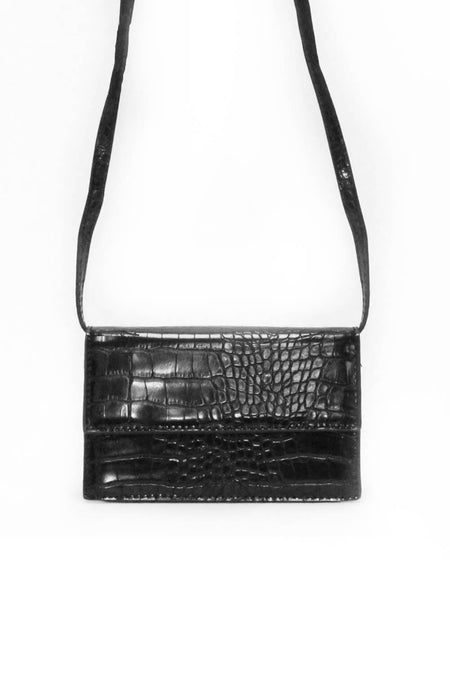 Black Croc Micro Mini Bag