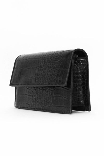 Black Croc Purse Bag