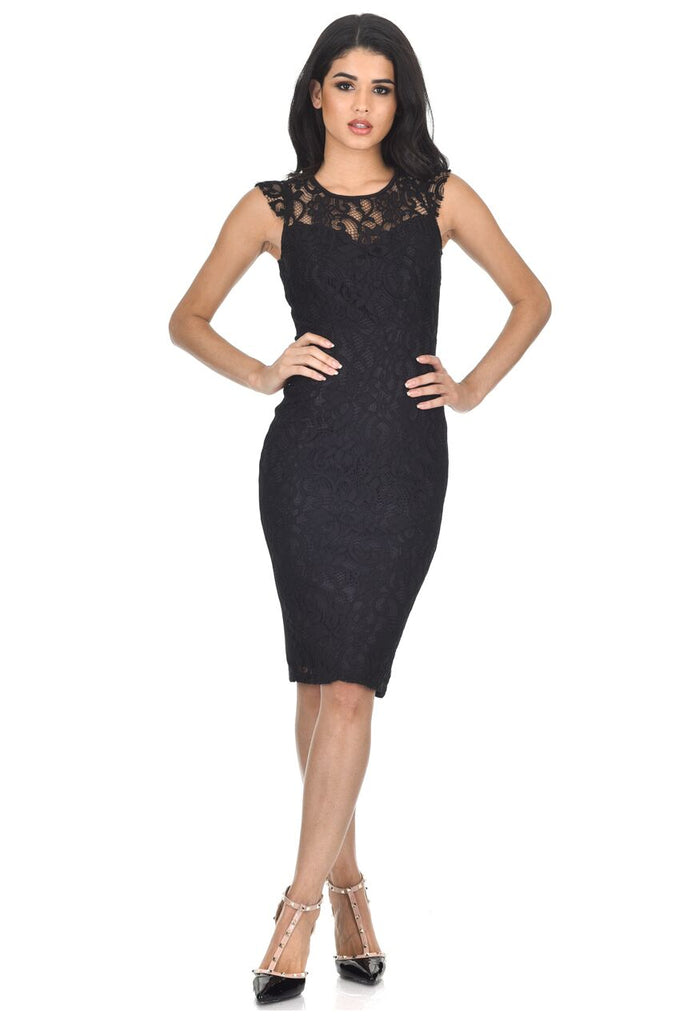 Black Crochet Midi Dress With Back Detail