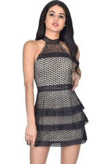 Black Crochet Overlay Dress