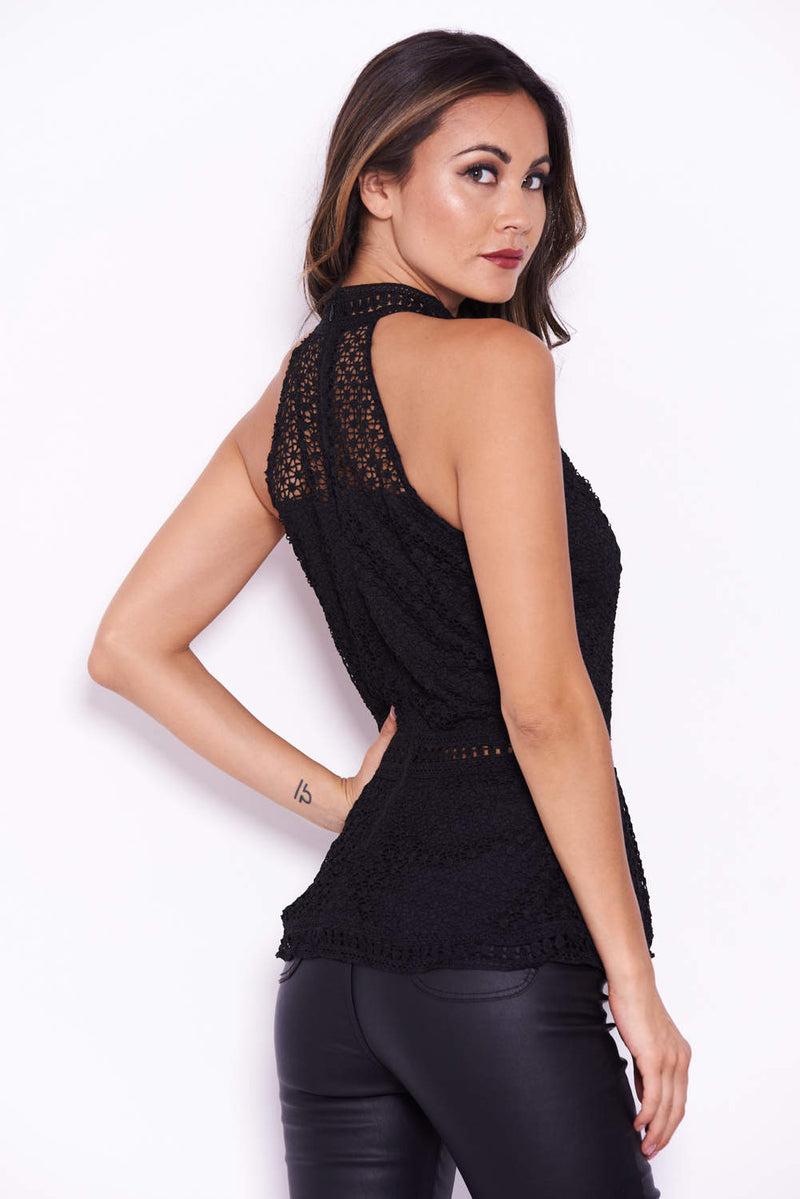 Black Crochet Peplum Top