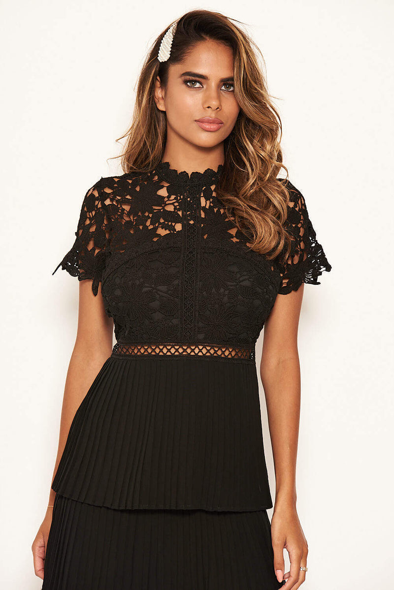 Black Crochet Pleated Tiered Dress