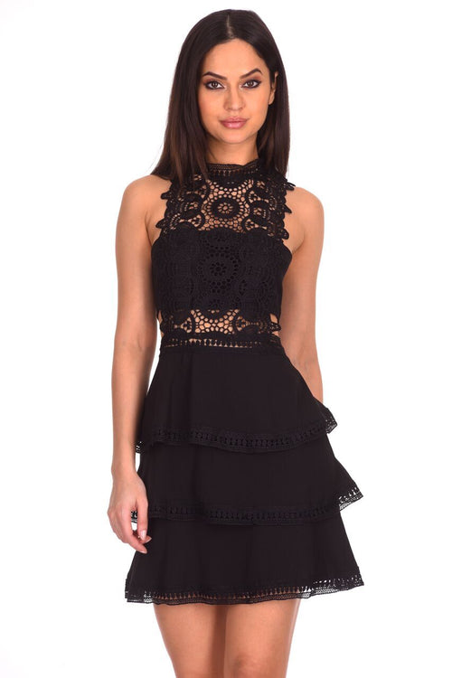 Black Crochet Skater Dress