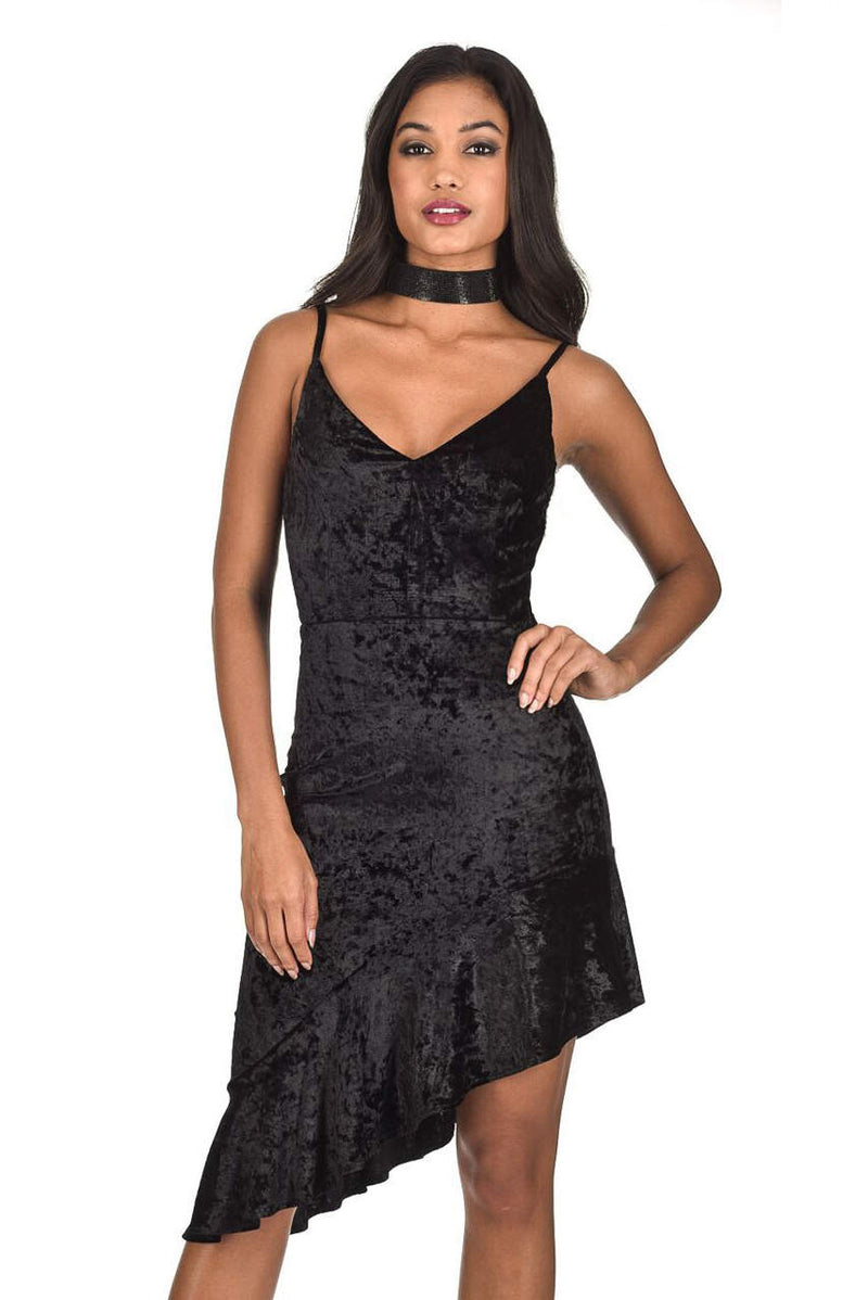 Black Crushed Velvet Bottom Frill dress