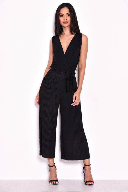 Yellow Culotte Pleated Tie-Waist Jumpsuit