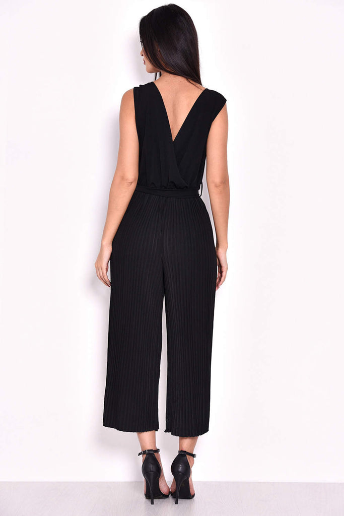 Black Culotte Pleated Tie-Waist Jumpsuit