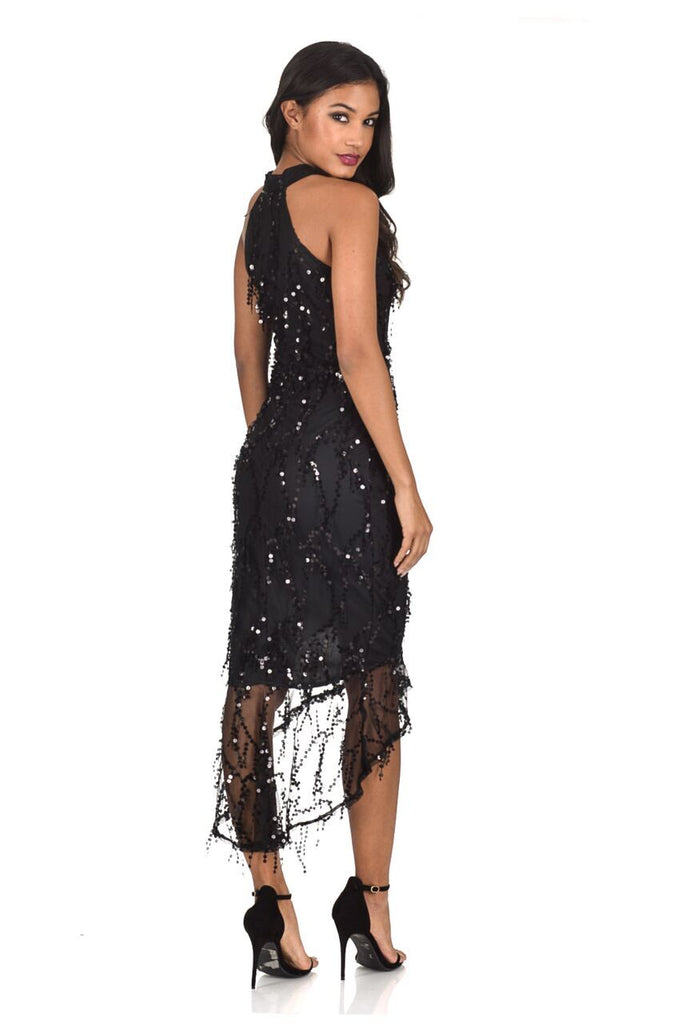 Black Cut In Dipped Hem Sequin Dress