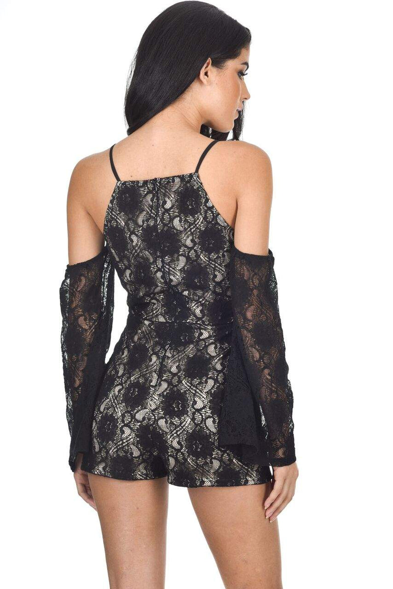 Black Cut Out Shoulder Lace Contrast Playsuit