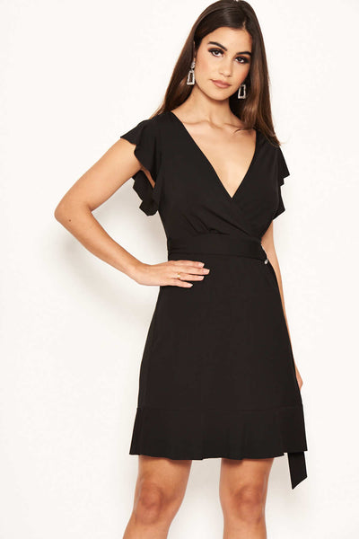 Black D Ring Ruffle Dress